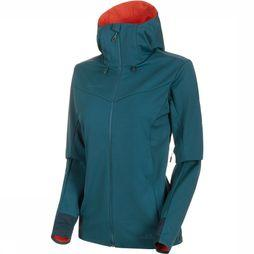 Mammut Ultimate V SO Hooded Jas Dames Petrol/Rood