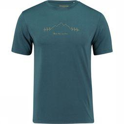 Ayacucho Beat The Mountain T-Shirt Petrol/Geel