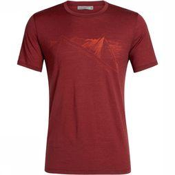 Icebreaker Tech Lite SS Crewe Peak In Reach T-shirt Bordeaux