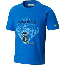 Columbia Camp Champs Short Sleeve Shirt Junior Middenblauw/Marineblauw