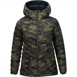 Peak Performance Frost Down Hood Jas Dames Donkerkaki/Assortiment Camouflage