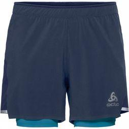 Odlo Zeroweight Ceramicool 2-in-1 Short Donkerblauw/Middenblauw