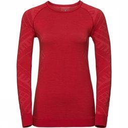Odlo Natural + Kinship Crew Neck Shirt Dames Rood