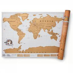Luckies Scratch Map World Wereldkaart Wit/Goud