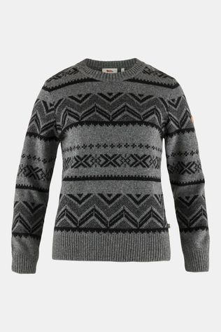 Fjällräven Greenland Re-Wool Pattern Knit Noorse Trui Dames Donkergrijs