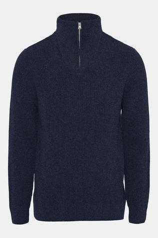 Knowledge Cotton Apparel Valley Neck Zip Knit Trui Donkerblauw