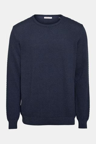 Knowledge Cotton Apparel Field O-Neck Sailor Knit Donkerblauw