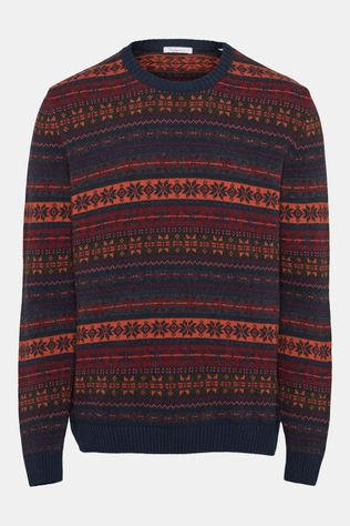 Knowledge Cotton Apparel Valley Multi Color Jacquard Knit Donkerblauw