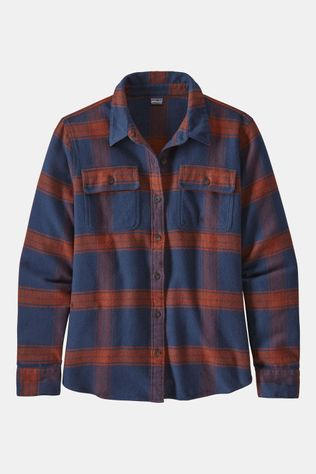 Patagonia LS Fjord Flannel Shirt Dames Middenblauw/Roest
