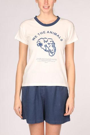 Thinking Mu We The Animals T-shirt Dames Wit/Blauw
