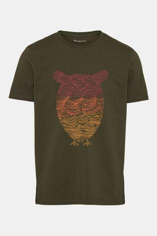 Knowledge Cotton Apparel Alder Tee Owl Wave Print T-shirt Donkerkaki