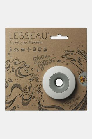 LESSEAU Travel Soap Dispenser Groovy Grey and Mille Fleur Soap Middengrijs