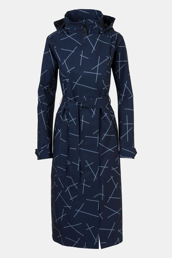 AGU Urban Outdoor Trenchcoat Long Dames Marineblauw/Ass. Geometrisch
