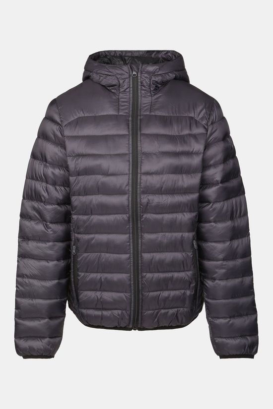 Our Planet Karst Puff Fake Down Jacket Hooded Dames Donkergrijs