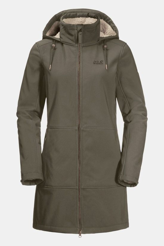 Jack Wolfskin Windy Valley Coat Softshell Parka Dames Taupe