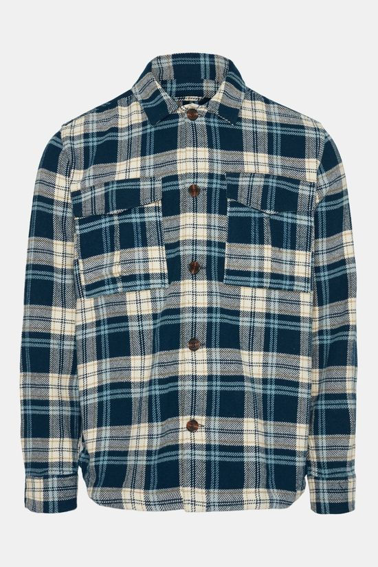 Knowledge Cotton Apparel Pine Checked Overshirt Donkerblauw/Ecru