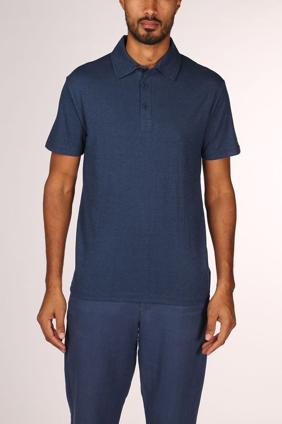 Thinking Mu Blue Hemp Polo Middenblauw