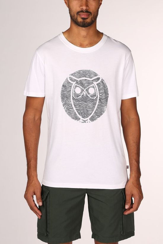 Knowledge Cotton Apparel Alder Wave Owl Tee Shirt Wit