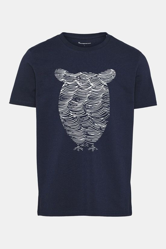 Knowledge Cotton Apparel Alder Tee Owl Wave Print T-shirt Donkerblauw