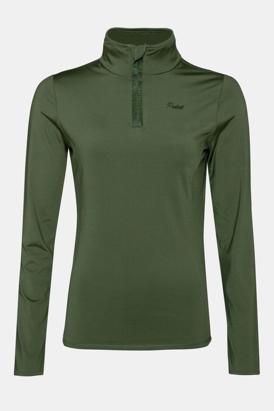 Protest Fabrizoy 1/4 Zip Top Dames  Donkerkaki/Assortiment Camouflage
