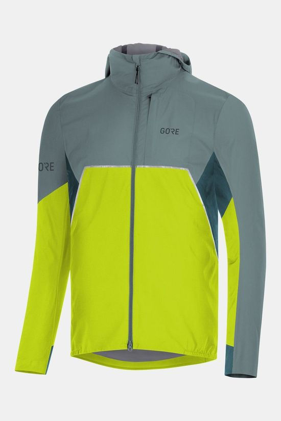 Gore Wear Gore Wear R7 Partial Gore-Tex Infinium Hooded Jas Lime/Middengrijs