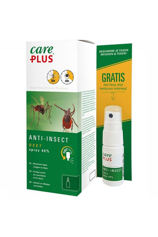 Care Plus DEET Anti-insect Spray 40% 200ml + gratis DEET 40% 15ml Geen Kleur