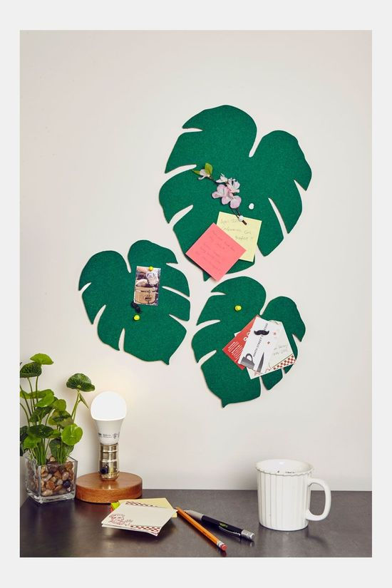 Kikkerland Monstera Leaf Corkboards Groen/Wit