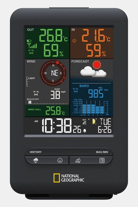 National Geographic RC Color Weather Center 5-In-1 Weerstation Zwart