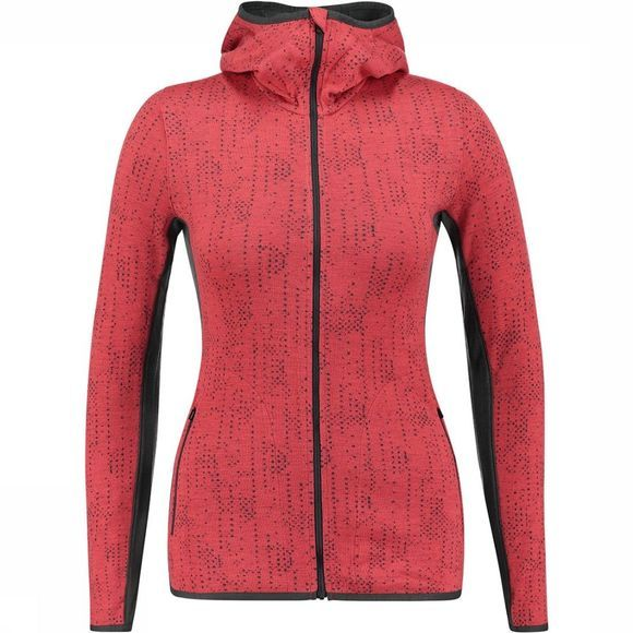 Icebreaker Away LS Zip Hood Showers Top Dames Middenrood