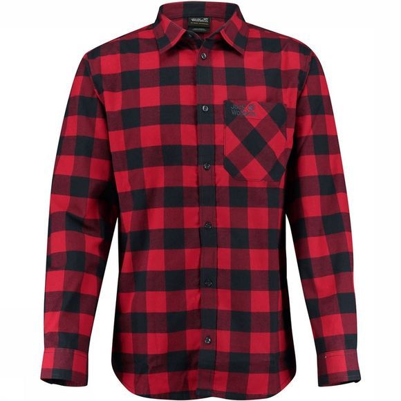 Jack Wolfskin Red River Shirt Rood/Donkerblauw