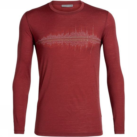 Icebreaker Tech Lite LS Snow Wave T-shirt Bordeaux