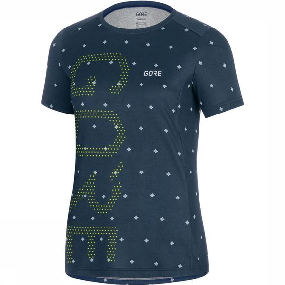 Gore Wear M Brand Shirt Dames Donkerblauw/Lime