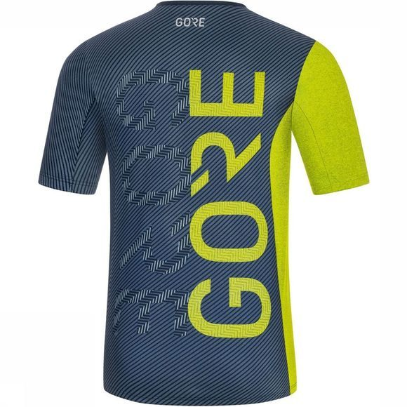 Gore Wear M Brand Shirt Donkerblauw/Lime
