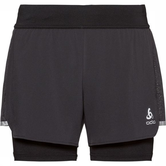 Odlo Zeroweight Ceramicool Light 2in1 Short Dames Zwart/Donkergrijs