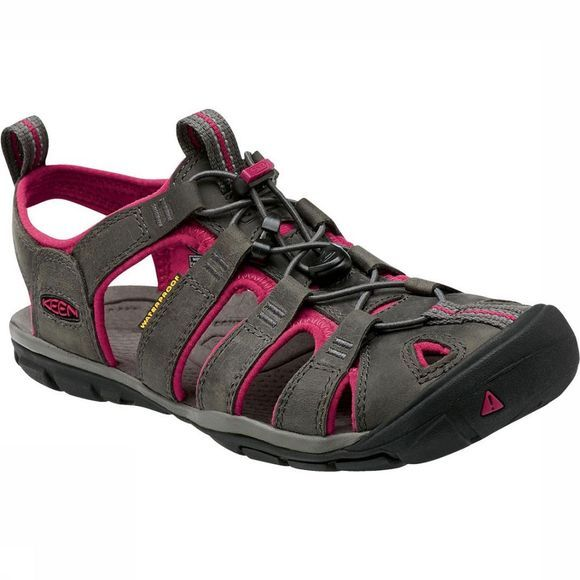 Keen Clearwater CNX Leather Sandaal Dames Middengrijs/Donkerroze