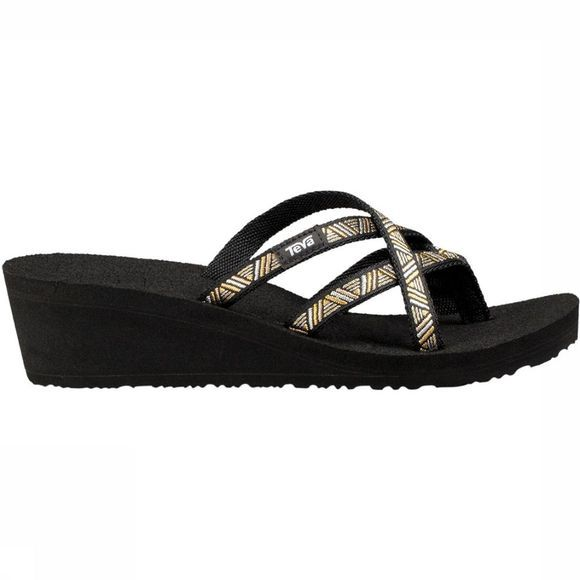 Teva Mush Mandalyn Wedge Ola II Slipper Dames Zwart/Goud