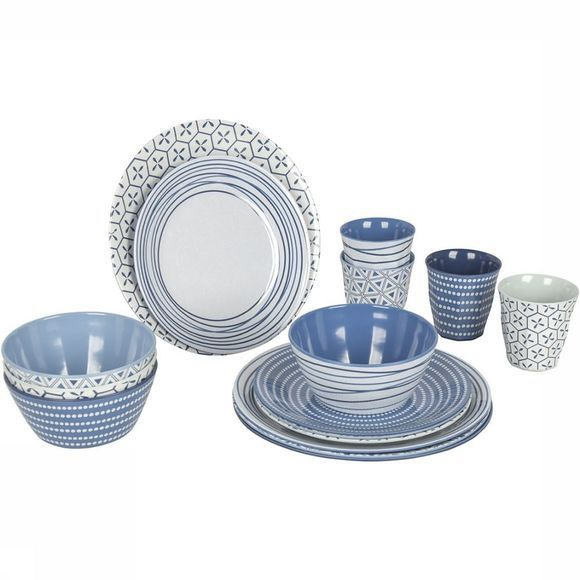 Bo-Camp Mix & Match 16-delig Servies Blauw/Wit