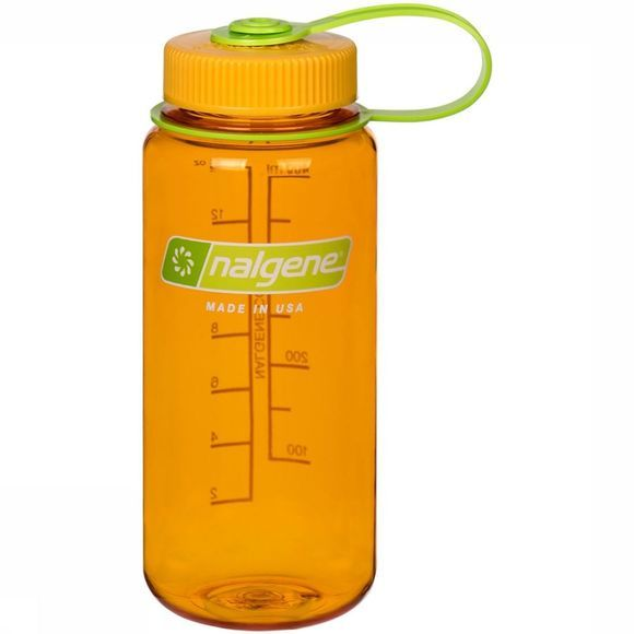 Nalgene Fles Wide Mouth 500ml Oranje/Lichtgroen