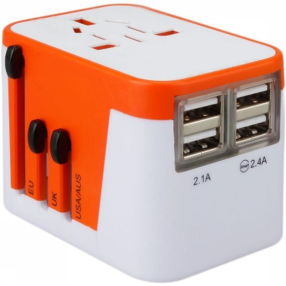 Lionheart Travel Adapter 2.0 Wereldstekker Oranje/Wit