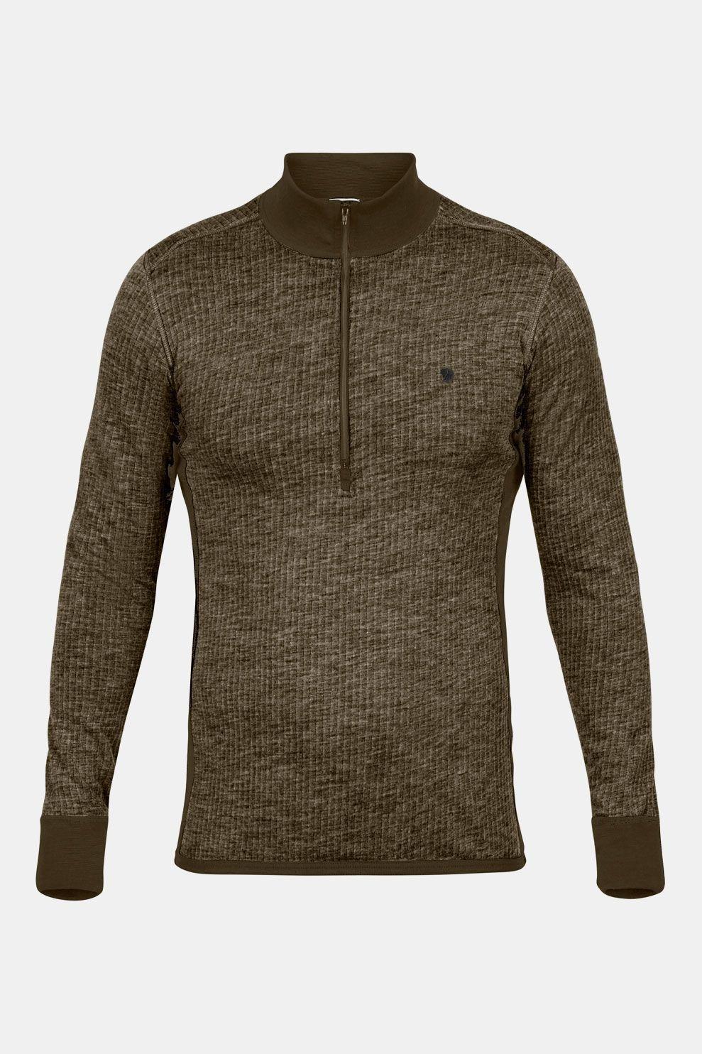 Fjällräven Värmland Woolterry Half Zip Shirt Donkerkaki