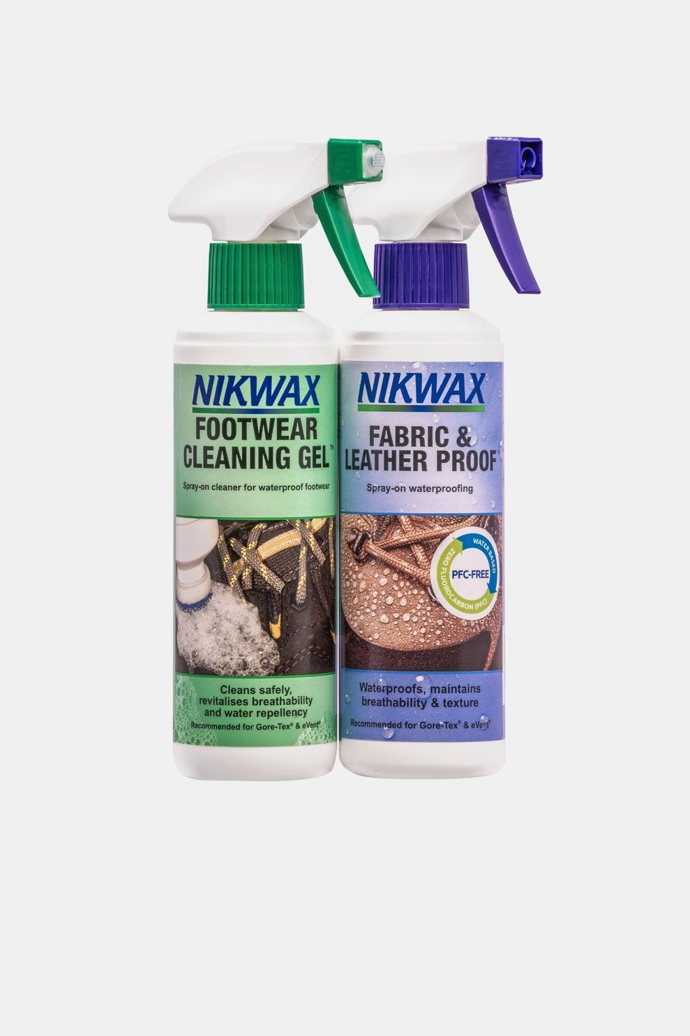 Nikwax Footwear Cleaning Gel Fabric Leather Spray Twin Pack Geen Kleur