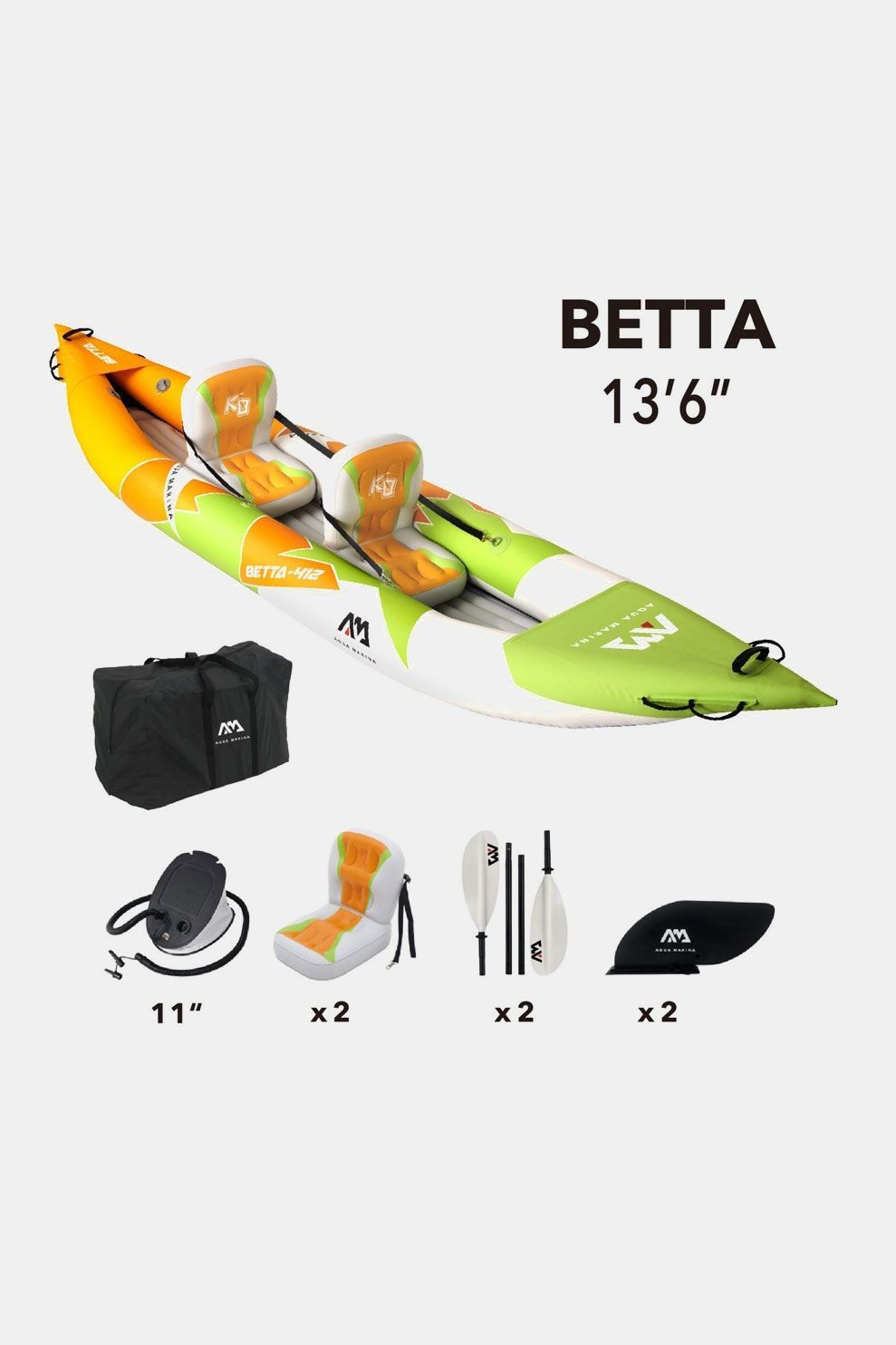 Aqua Marina Kayak Betta 412 Oranje/Limoengroen